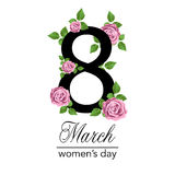 8 March Design card with flowers roses. International Women`s Day Background. Vector illustration Royalty Free Stock Photos