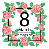 8 March Design card with roses flowers. International Women`s Day Background. Vector illustration Royalty Free Stock Photo