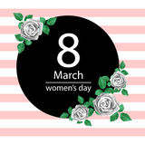 8 March Design card with roses flowers. International Women`s Day Background. Vector illustration Royalty Free Stock Photography
