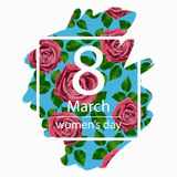 8 March Design card with roses flowers. International Women`s Day Background. Vector illustration Royalty Free Stock Images