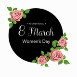 8 March Design card with roses flowers. International Women`s Day Background. Vector illustration Royalty Free Stock Photos
