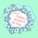 8 March Design card with roses flowers. International Women`s Day Background. Vector illustration Stock Photo