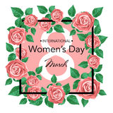 8 March Design card with roses flowers. International Women`s Day Background. Vector illustration Stock Photos