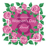 8 March Design card with roses flowers. International Women`s Day Background. Vector illustration Royalty Free Stock Image