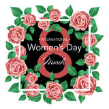 8 March Design card with roses flowers. International Women`s Day Background. Vector illustration Stock Images