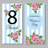 8 March Design card set with floral background Royalty Free Stock Photo