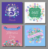 8 March Design card set with floral background. International Women`s Day Background. Vector illustration Royalty Free Stock Photography
