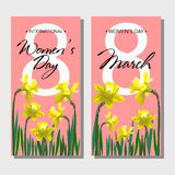 8 March Design card set with flowers narcissus Stock Images