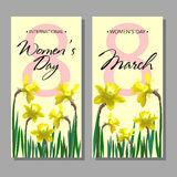 8 March Design card set with flowers narcissus Royalty Free Stock Images
