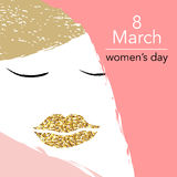 8 March Design card set with woman profile and golden lips. Vector illustration Stock Images