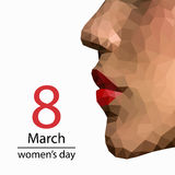8 March Design card set with woman profile in low poly design. Vector illustration royalty free illustration