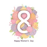 8 March Design with Flowers. International Women`s Day Background. 8 March Card Design with Flowers. International Women`s Day Background vector illustration