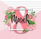 8 March Design with flowers. International Womens Day Background.  Stock Image