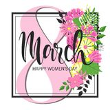 8 March Design with flowers. International Womens Day Background.  Stock Images
