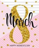8 March Design with gold tinsel. International Womens Day Background.  Royalty Free Stock Image