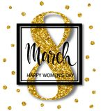 8 March Design with gold tinsel. International Womens Day Background.  Stock Photo