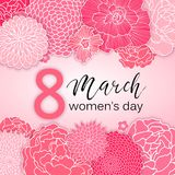 8 March Design with Pink Flowers. International Women`s Day Background. 8 March Design with Flowers. International Women`s Day Background Royalty Free Illustration