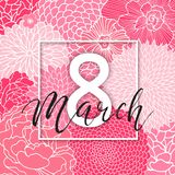 8 March Design with Pink Flowers. International Women`s Day Background. 8 March Design with Flowers. International Women`s Day Background Stock Illustration