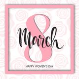 8 March Design with roses. International Womens Day Background.  Royalty Free Stock Photos