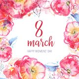 8 march design template. Happy Womens` day hand drawn watercolor illustration. Decorative sketch roses frame. Isolated on white background royalty free stock photo