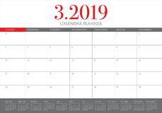 March 2019 desk calendar vector illustration vector illustration