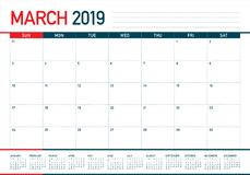 March 2019 desk calendar vector illustration stock illustration