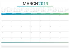 March 2019 desk calendar vector illustration royalty free illustration