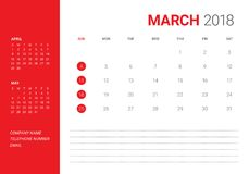 March 2018 desk calendar vector illustration. Simple and clean design Stock Photos