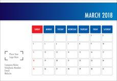 March 2018 desk calendar vector illustration Royalty Free Stock Images