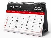 March 2017 desktop calendar. 3D illustration Stock Images