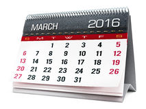 March 2016 desktop calendar. Isolated on white background Royalty Free Stock Image