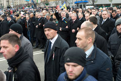 March of dignity in Kiev. Kiev, Ukraine - February 22. 2015: President of Ukraine Petro Poroshenko during the march of dignity on independence square in Kiev stock photography