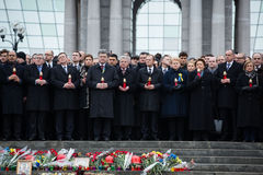March of Dignity in Kyiv. KIEV, UKRAINE - Feb 22, 2015: Prayer for peace at the Independence Square in Kiev. President of Ukraine Petro Poroshenko, foreign Stock Photography