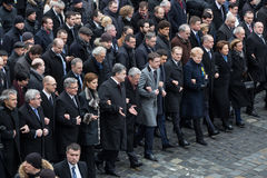 March of Dignity in Kyiv. KIEV, UKRAINE - Feb 22, 2015: President of Ukraine Petro Poroshenko, foreign leaders and distinguished guests took part in the March of Royalty Free Stock Photography