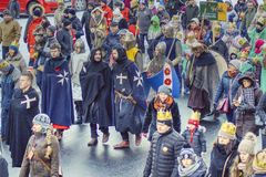 March of the disguises on the occasion of the feast of the three kings royalty free stock image
