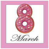 March 8 donuts  pink card Royalty Free Stock Image