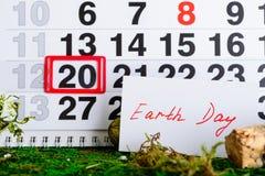 March 20 Earth Day on calendar stock photos