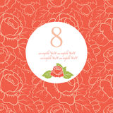 March eight card. Contains a pattern of flowers and label for text Stock Photography