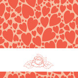 March eight card. Contains a pattern of hearts and label for text Royalty Free Stock Photo