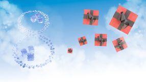 8 March. Eight made of water drops with ice cubes and pink gift boxes over blue sky elegant background with copyspace. Decorative. Greeting postcard for Stock Photography