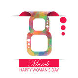 8 march Eight Woman's day. Watercolor Royalty Free Stock Images
