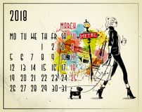 March. 2018 European calendar with fashion girl. In sketch style Royalty Free Stock Photo