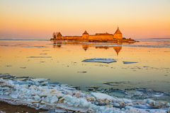 March evening. At the mouth of the Neva river at the fortress `Oreshek Royalty Free Stock Photos