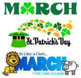 March Events Clip Art Set/eps. Illustrated headlines for March events including St. Patricks Day and two headings for March Vector Illustration