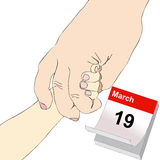 March 19, Father's Day. Illustration representing a boy with his hand in the hand of his father Stock Photography