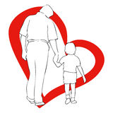 March 19, Father's Day. The representative illustration Father's Day, with a child with her hand in the hand of his father Royalty Free Stock Images