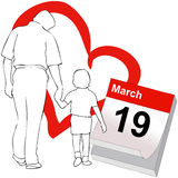 March 19, the Father's Day. The representative illustration Father's Day, with a child with her hand in the hand of his father Royalty Free Stock Photos