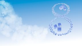 8 March. Figure of eight made of water drops with ice cubes over blue sky elegant background with copyspace. Decorative greeting g. Rungy or postcard for Royalty Free Stock Images