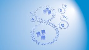 8 March. Figure of eight made of water drops with ice cubes over blue sky elegant background with copyspace. Decorative greeting g. Rungy or postcard for Stock Photo