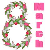 March 8, figure of white and pink tulips stock illustration